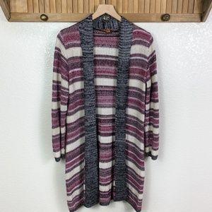 Belldini Purple Striped Open Knit Cardigan